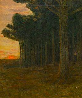 Charles Warren Eaton, (American, 1857-1937), Dutch Poplars at Sunset