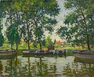 Arnold Borisovich Lakhovsky, (Russian/American, 1880-1937), River Scene