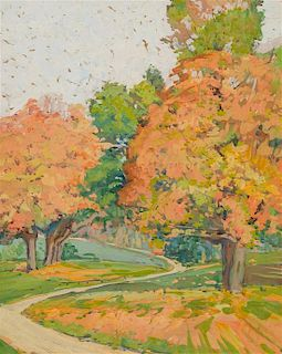 Jane Peterson, (American, 1876-1965), Landscape with Maple Trees