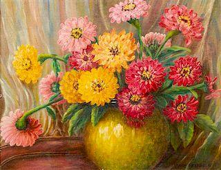 Jane Peterson, (American, 1876-1965), Zinnias