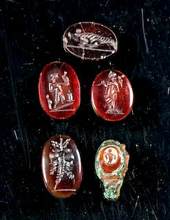 Roman Carnelian Intaglio Ring Fragment + 4 Intaglios