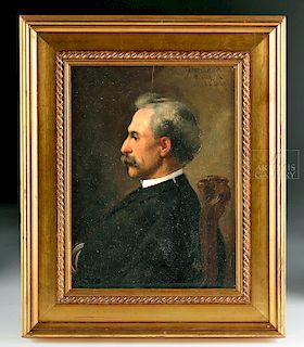 Signed Fedor Encke Portrait of Edward Stieglitz - 1884