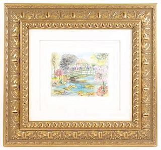 Cambour, Monet's Garden Watercolor, Signed