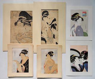 after Utamaro Kitagawa 6 woodblocks