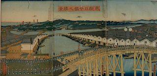 Sadahide Utagawa woodblock triptych