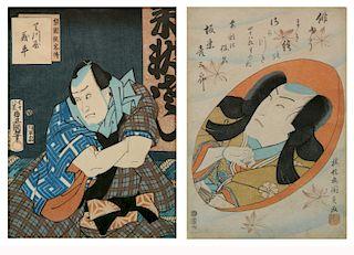 Toyokuni III Utagawa 2 woodblocks