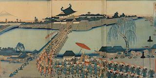 Yoshimune Utagawa woodblock in colors (triptych)