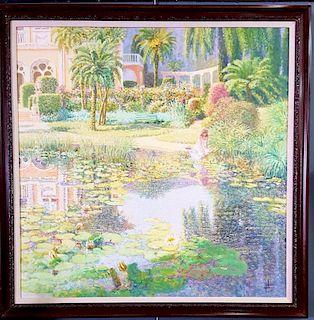 Louis P. Fabien HUGE French Impressionist Garden Painting