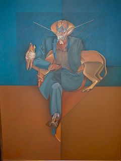 Luis Zarate (Mexican, 1951 -) Latin Modern Painting 1980's LARGE SIZE