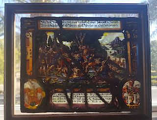 Antique Stained Glass German Baroque Mythological Scene