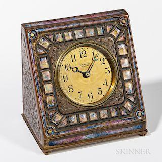 Tiffany Furnaces Enameled Desk Clock