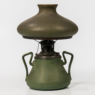 Green Handel Shade on Hampshire Pottery Lamp Base