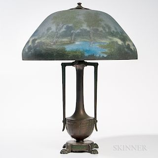 Moe-Bridges Company Reverse-painted Glass Shade with Patinated Bronze Base