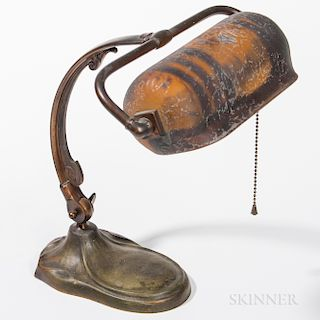 Handel Bronze Desk Lamp with Reverse-painted Shade