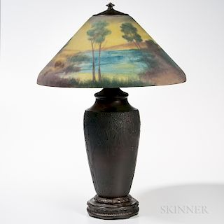 Jefferson Reverse-painted Scenic Glass Shade on Base