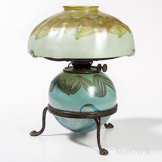 Tiffany Favrile Glass Oil Lamp and Possibly Tiffany-style Shade on Bronze Base