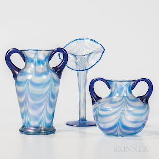 Three Imperial Art Glass Vases with Blue on Clear Dragged Loop Design