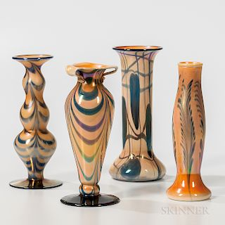 Four Imperial Art Glass Blue on White with Orange Overshot Vases