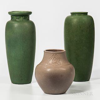 Three Hampshire Pottery Vases