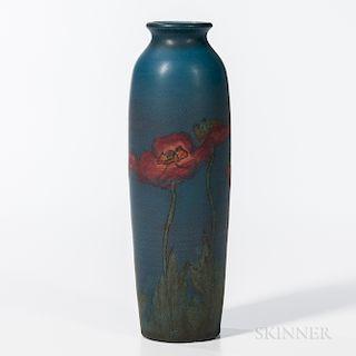 Sally E. Coyne for Rookwood Pottery Matte Glaze Poppy Vase