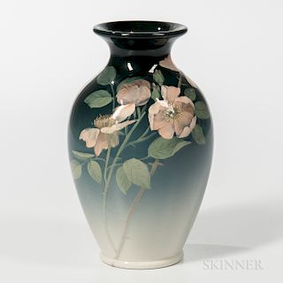 Constance A. Baker for Rookwood Pottery Iris Glaze Rose Vase