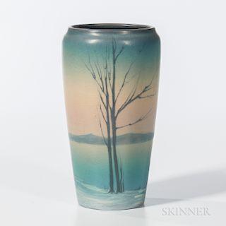 Elizabeth F. McDermott for Rookwood Pottery Vellum Snow Scene Vase