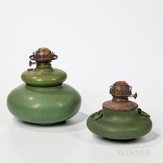 Two Hampshire Pottery Oil Lamp Bases