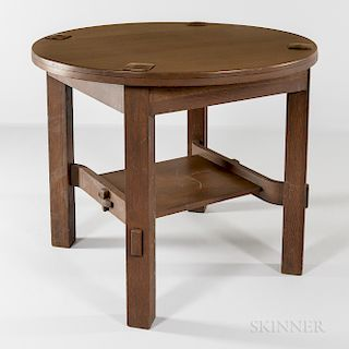 Round Oak Arts and Crafts Mission Table