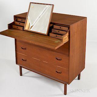 Povl Dinesen for Soborg Mobler Teak Vanity and Chest of Drawers