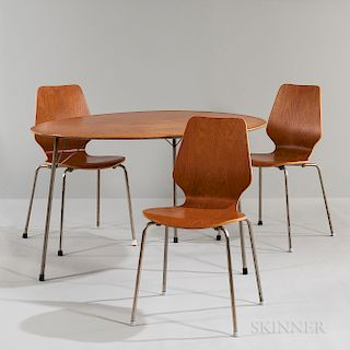 Arne Jacobsen for Fritz Hansen Egg Table and Three Stackable Plywood Chairs