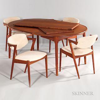 Danish Modern Teak Dining Table and Four Kai Kristiansen Chairs