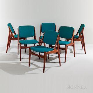 "Six Arne Vodder ""Nela"" Teak Dining Chairs"