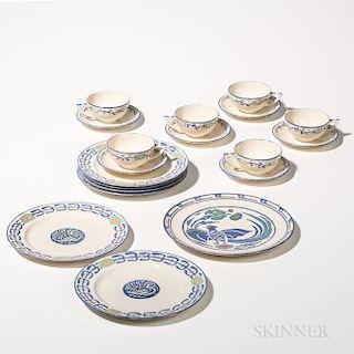 Nineteen Pieces of Hand-painted Belleek Dinnerware