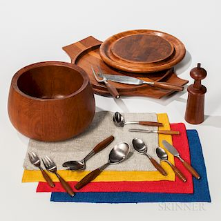 Seventy-six-piece Dansk Fjord Pattern Dinner Service, Tulip Bowl, Two Serving Trays, Pepper Mill, and a Set of Placemats