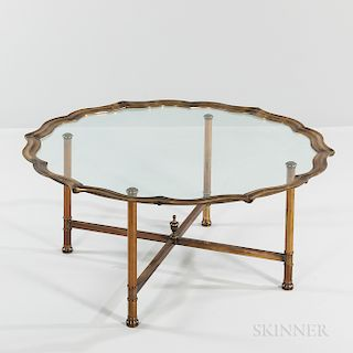 Baker Style Brass and Glass Coffee Table