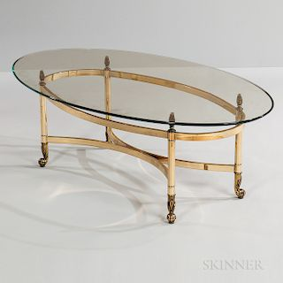 LeBurge Brass and Glass Oval Cocktail Table