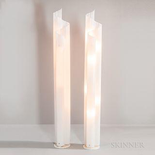 Two Vico Magistretti for Artemide Acrylic Chimera Floor Lamps