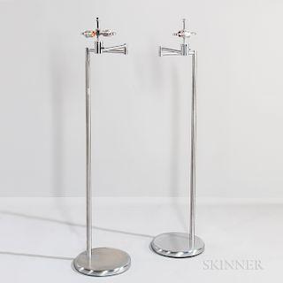 Two Walter Von Nessen Swing-arm Floor Lamps