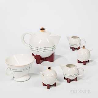 """Michael Graves (1939-2015) """"Big Dripper"""" Coffeepot with Filter and Two Sugars and Creamers"""