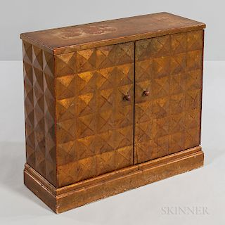 Gold Pyramid Adorned Wood Chest
