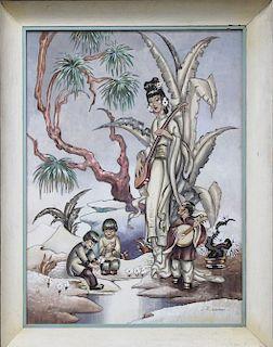 Asian Hollywood Regency Retro Tiki Modernist LARGE painting