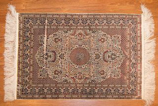 Very fine silk Chinese rug, approx. 2 x 3