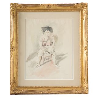 """Jules Pascin. """"Femme Assise,"""" watercolor on paper"""