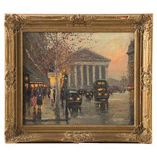 Charles Vignon. Parisian Street Scene, oil