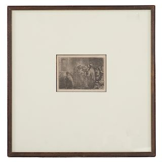 """Rembrandt. """"The Tribute Money,"""" etching"""