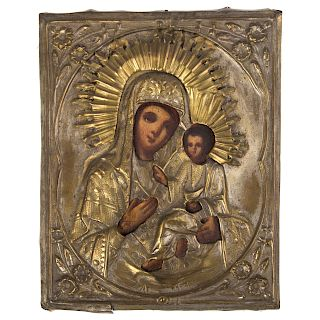 19th c. Russian Icon of the Iberian Mother of God