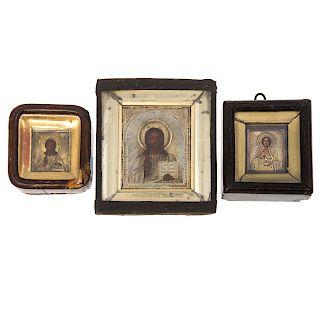 Three 19th century diminutive Russian Icons