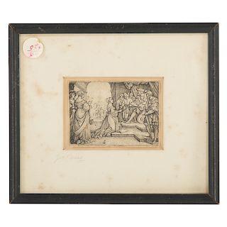 """Georg Pencz. """"Esther Before Ahasuerus,"""" engraving"""