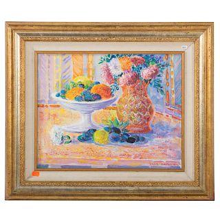 """Jean Lareuse. """"Fleurs..."""" oil on canvas"""