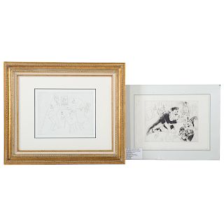 """Marc Chagall. 2 etchings from """"The Dead Souls"""""""